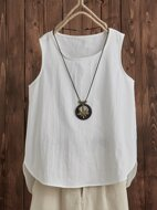 High Low Solid Tank Top Without Necklace