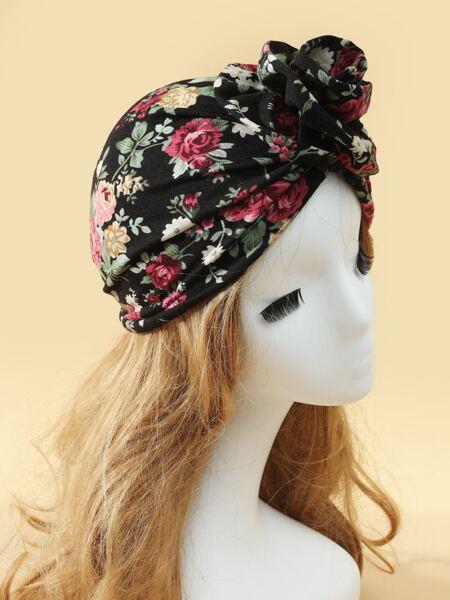 Flower Print Turban Hat