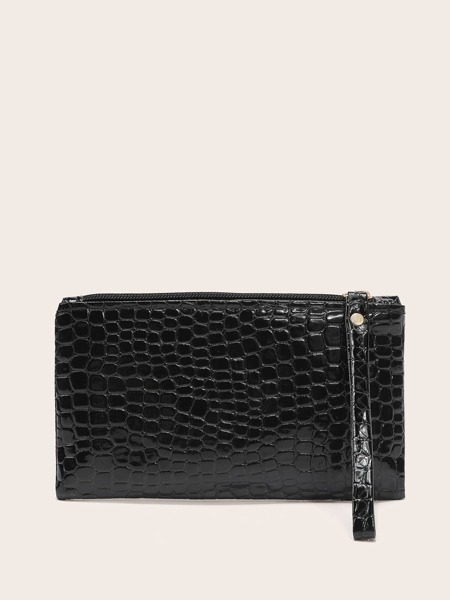Textured Clutch Bag With Wristlet