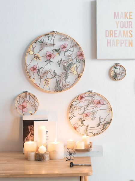 4pcs Flower Embroidery Wall Hanging