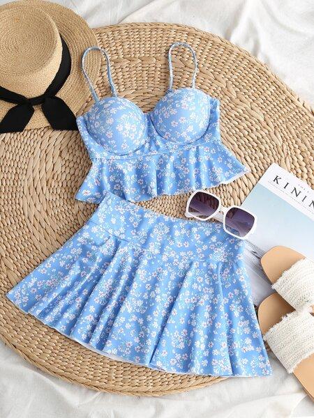 Ditsy Floral Push Up Skort Bikini Swimsuit