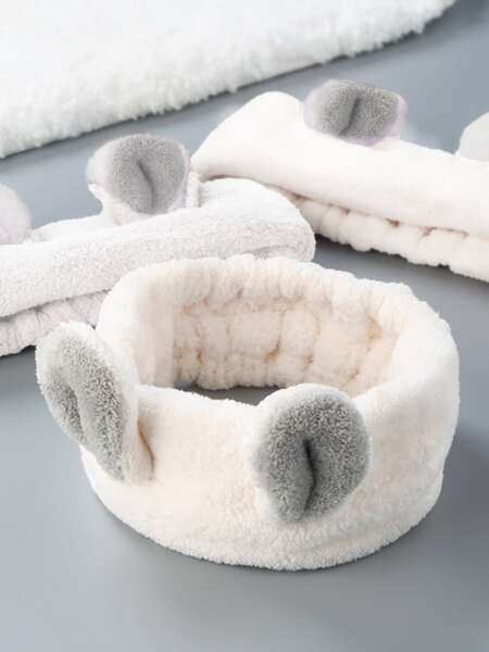 1pc Rabbit Ear Detail Bath Headband