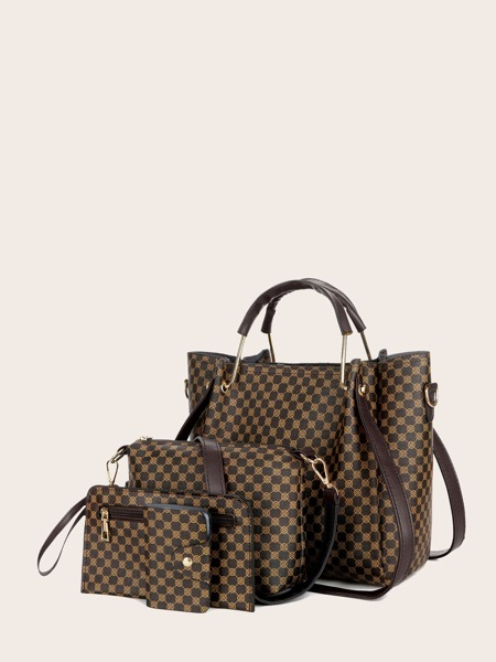 4pcs Geometric Print Satchel Bag Set