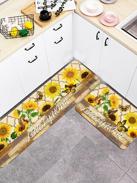 1pc Sunflower Print Floor Mat