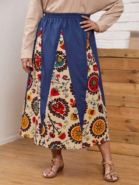 Plus Contrast Floral A-line Skirt