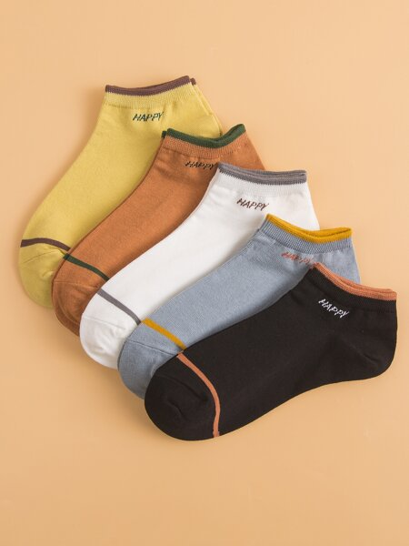 5pairs Letter Graphic Ankle Socks