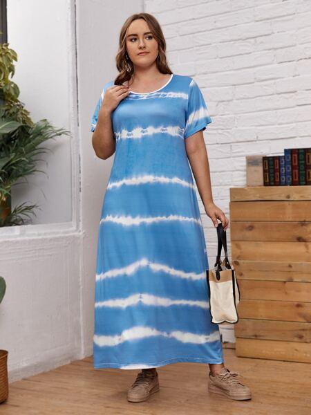 Plus Tie Dye Print Tee Dress