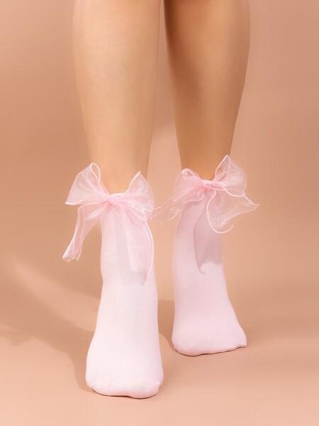Bow Decor Crew Socks