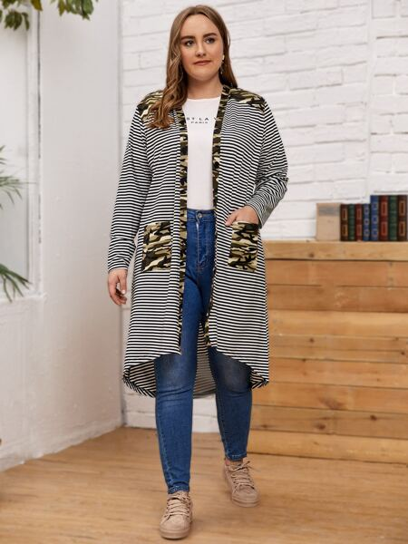 Plus Striped & Camo Panel Dual Pocket Kimono