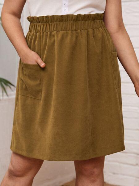 Plus Paperbag Waist Pocket Front Cord Skirt