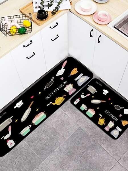 1pc Kitchenware Print Floor Mat