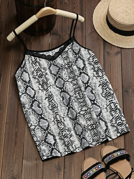 Plus Snakeskin Lace Insert Cami Top