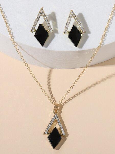 1pc Rhinestone Geometric Decor Necklace & 1pair Earrings