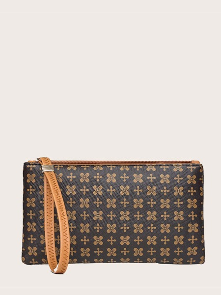 Geometric Graphic Clutch Bag With Wristlet