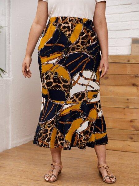 Plus Chain Print Ruffle Hem Skirt