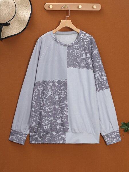 Plus Colorblock Raglan Sleeve Sweatshirt