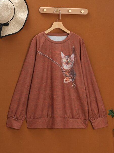 Plus Cat Print Raglan Sleeve Sweatshirt