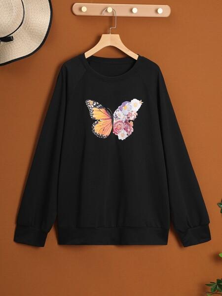 Plus Butterfly & Floral Print Sweatshirt