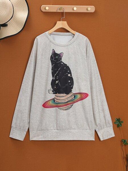 Plus Cartoon Cat Print Raglan Sleeve Sweatshirt