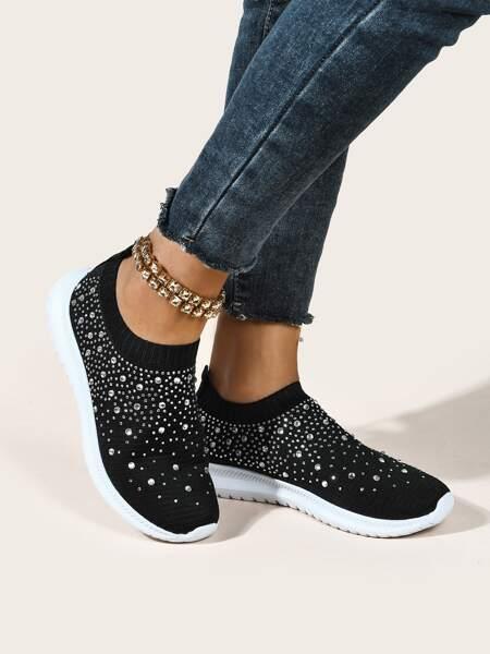 Rhinestone Decor Knit Sneakers