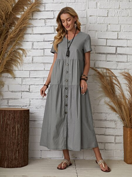 Button Front Swing Smock Dress