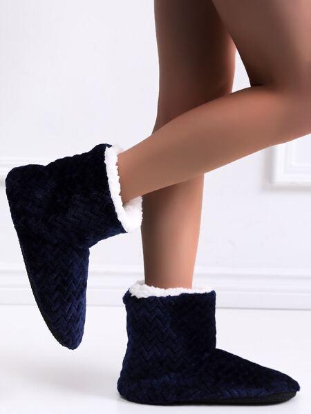 Chevron Warm Slipper Boots