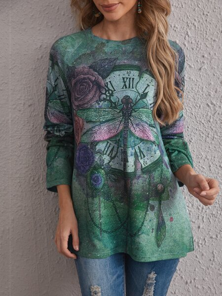 Dragonfly And Clock Print Tee