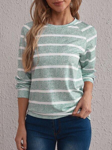 Striped Print Raglan Sleeve Sweatshirt
