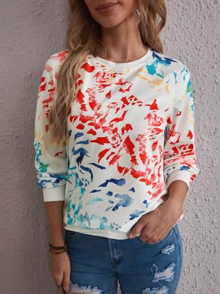 Graphic Print Raglan Sleeve Sweatshirt