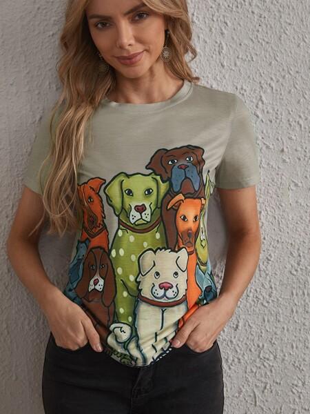 Dog Print Short Sleeve Tee