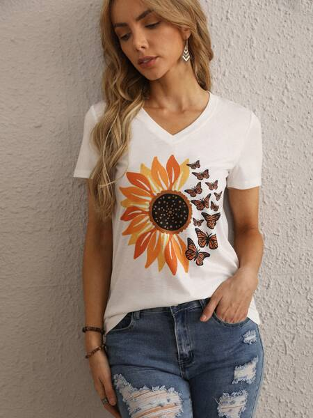 Floral & Butterfly Print Tee