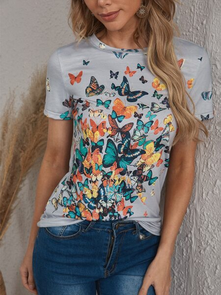 Butterfly Print Round Neck Tee