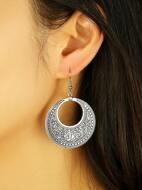 Flower Engraved Round Drop Earrings
