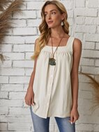 Button Front Solid Tank Top