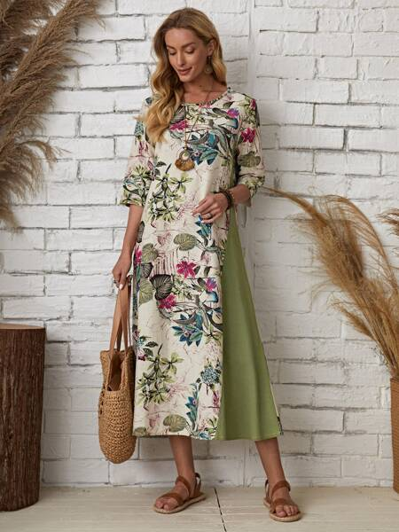 Floral And Plants Print Tunic Dress