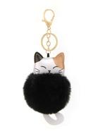 Pom Pom Decor Cat Charm Keychain