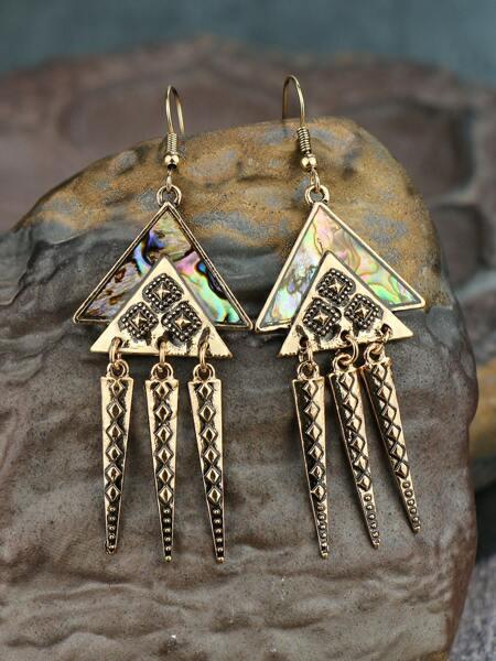 Abalone Shell Triangle Drop Earrings