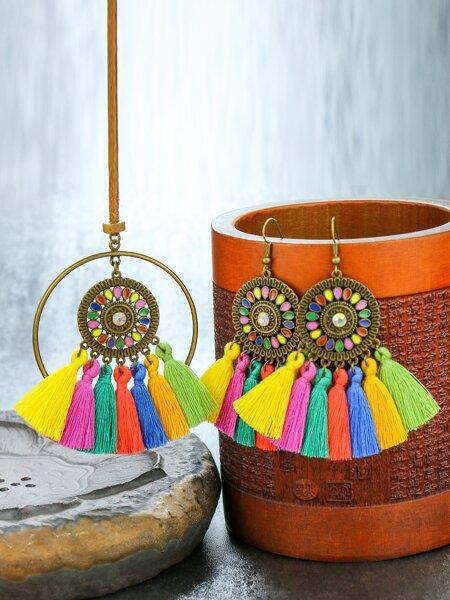 1pc Tassel Charm Necklace & 1pair Drop Earrings