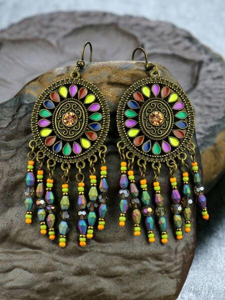 Crystal Tassel Charm Drop Earrings