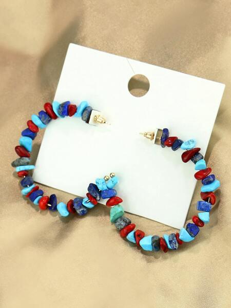 Colorful Stone Decor Cuff Hoop Earrings