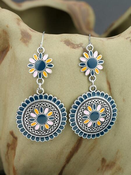 Bohemian Round Flower Drop Earrings