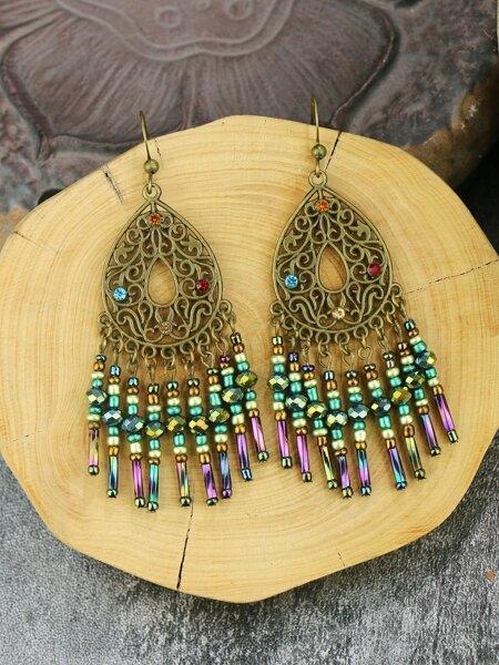 Rhinestone Water Drop Decor Earrings