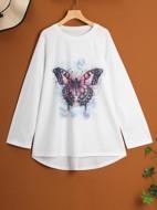 Plus Butterfly Print Raglan Sleeve Long Tee