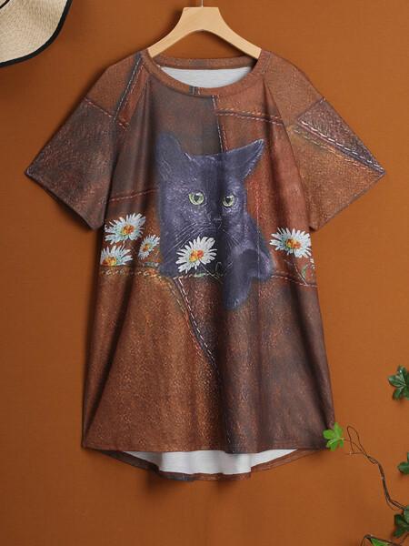 Plus Cat Print Raglan Sleeve Long Tee