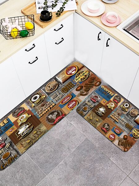 1pc Coffee Print Floor Mat