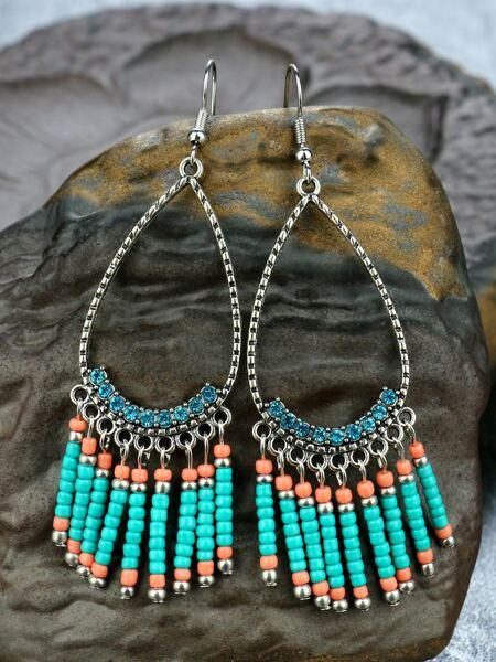 Bead Tassel Charm Drop Earrings
