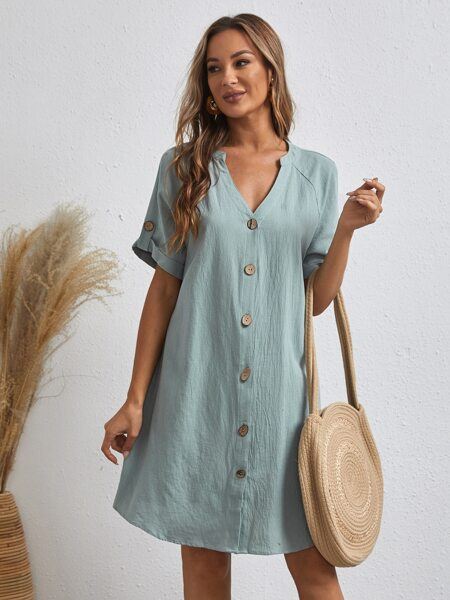 Notched Neck Roll Up Sleeve Buttoned Front Dress