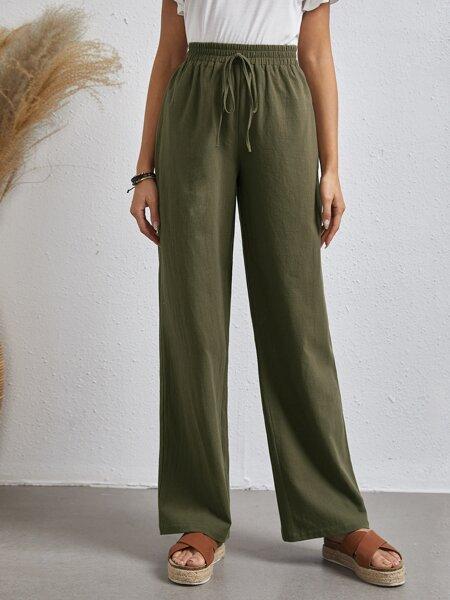 Tie Front Straight Leg Pants