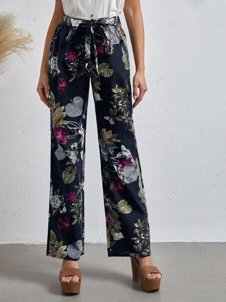 Tie Front Floral Pants