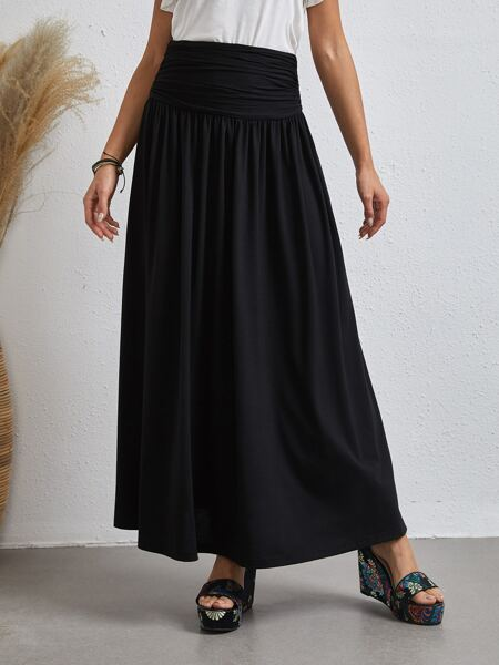 Ruched Wide Waistband Skirt